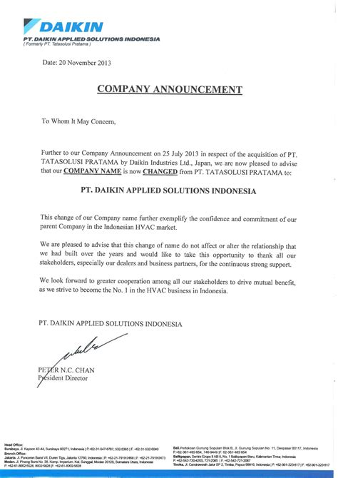 Company Announcement Template by Image Gallery Change Announcement