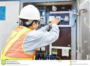 High Voltage Electrician by Electrician Working At Power Line Box Royalty Free Stock Image Image 31276666