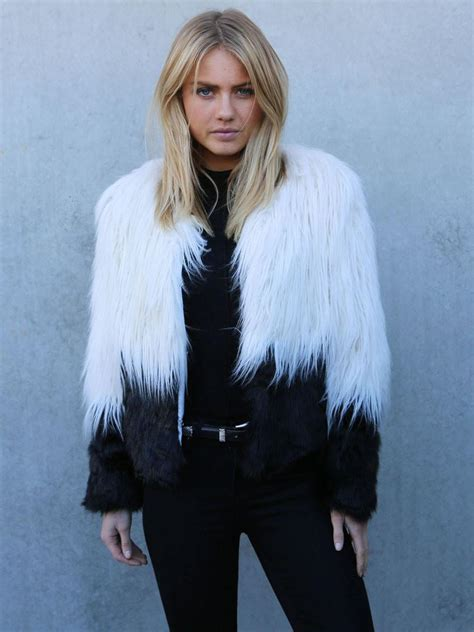 Compare Contrast Wearing A Winter White Coat by White Black Contrast Color Faux Fur Coat Outwear Fleeced
