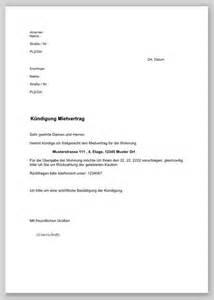 Muster Kündigung Mietvertrag Durch Den Vermieter K 252 Ndigung Mietvertrag Durch Mieter Muster