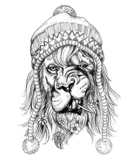 hipster black lion tattoo tattooforaweek temporary