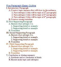 Five Paragraph Essay Outline Exle by 5 Paragraph Essay Outline Outline For 5 Paragraph Essay