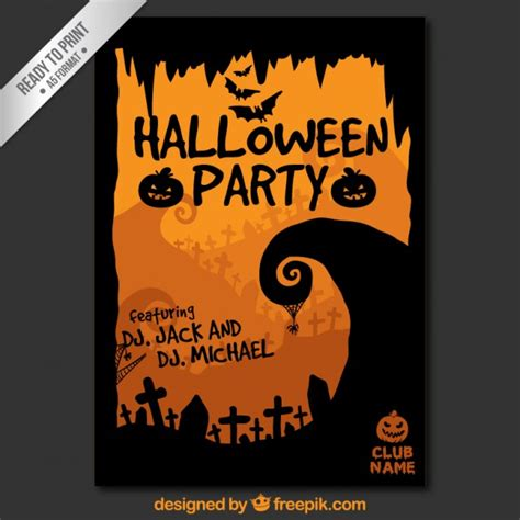 halloween party poster template vector free download
