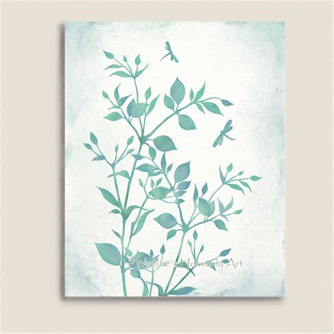 green wall decor watercolor art print dragonflies blue green wall art