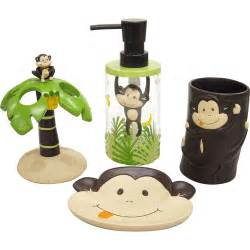 Monkey Bathroom Accessories Mainstays Monkey 4 Bath Accessories Set Walmart