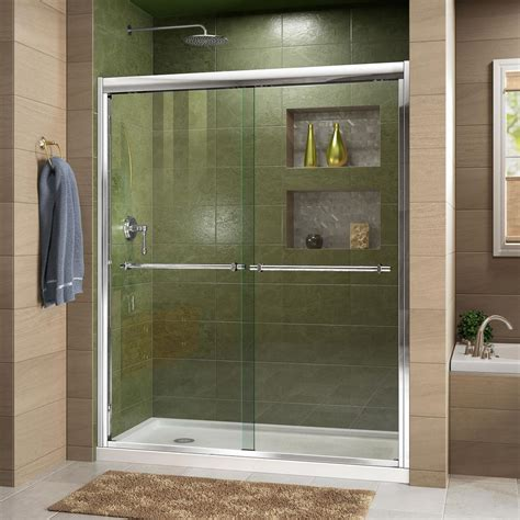What Is A Bypass Shower Door Dreamline Duet 56 In To 60 In X 72 In Semi Framed Bypass Sliding Shower Door In Chrome Shdr