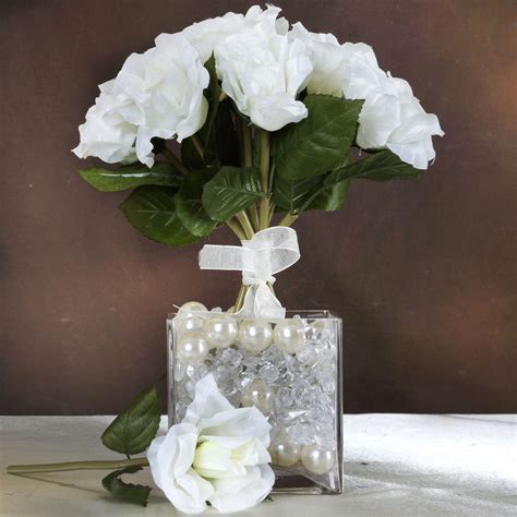 6 Pcs Cream Silk Open Roses Bouquets Wedding Wholesale Bulk Floral Centerpieces