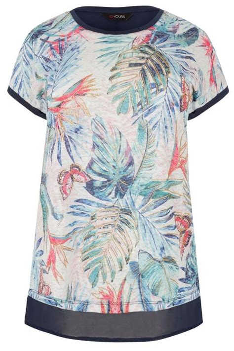 Android Sketch Raglan navy tropical floral print top with chiffon hem plus size