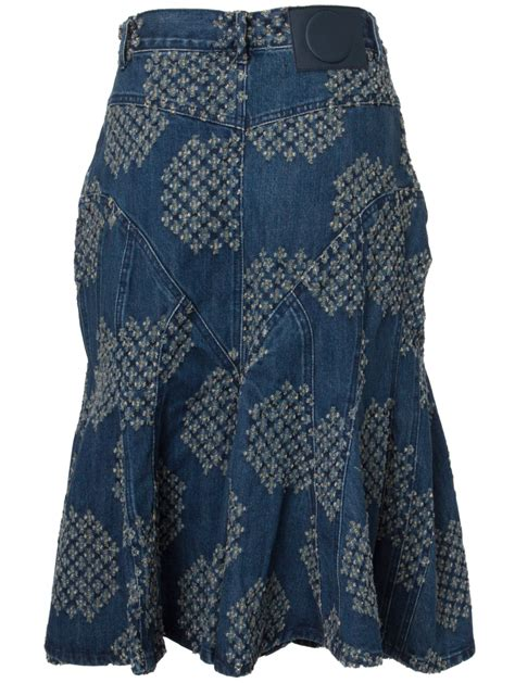 pattern jeans skirt sibling distressed pattern denim skirt in blue lyst