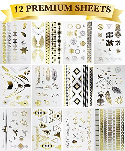 Cincin Set 6 Pcs Simple Block Glow Silver Ri 26 galleon 12 premium sheets metallic flash temporary tattoos gold and silver bling