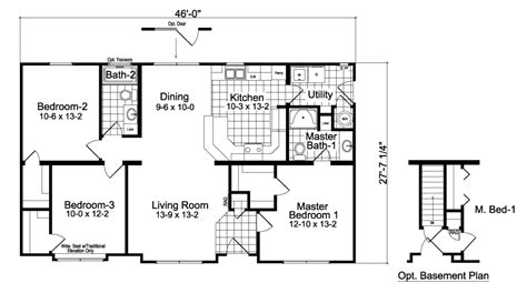 3 bedroom ranch floor plans modular homes oakdale 3 bedroom 2 bath
