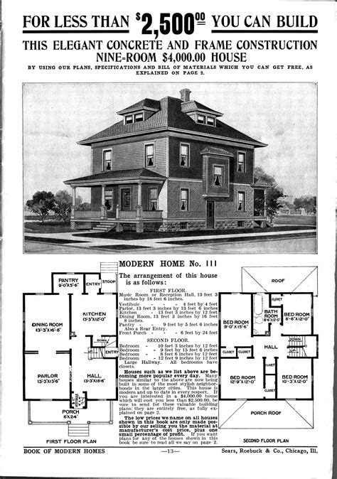 sears homes floor plans foursquare houses sears mail order house plan american