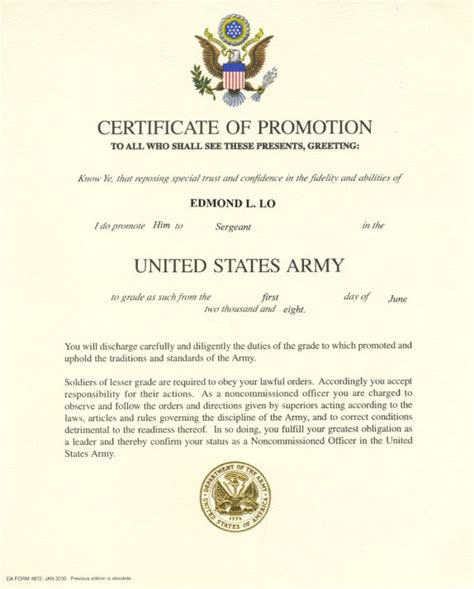Officer Promotion Certificate Template officer promotion certificate template best and various