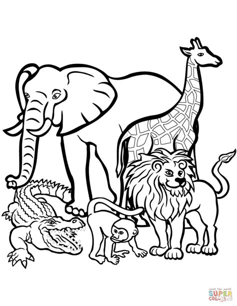 coloring book pages animals african animals coloring pages free printable pictures