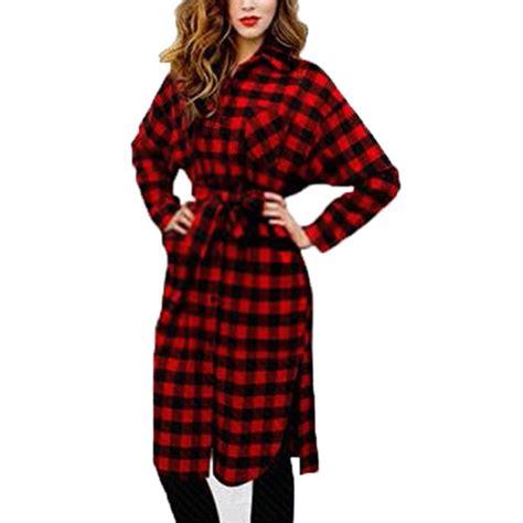 2017 autumn dress irregular plaid shirt dresses