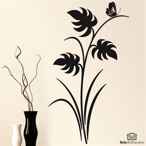 deco vinilos rosario deco vinilos vinilo floral hojas y mariposa color negro y orientaci 243 n
