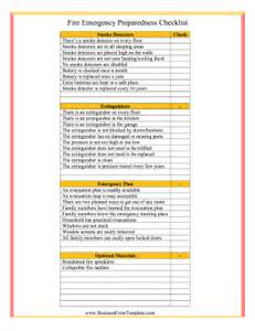 fire emergency checklist template