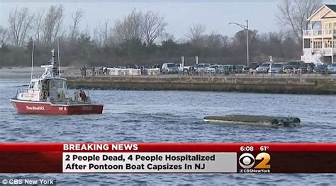 houseboat jersey shore pontoon boat in new jersey carrying seven capsizes leaving