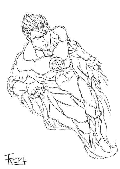 human torch standing coloring pages coloring pages