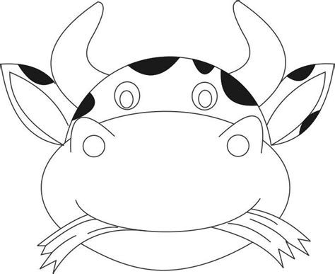 cow mask printable coloring page for kids