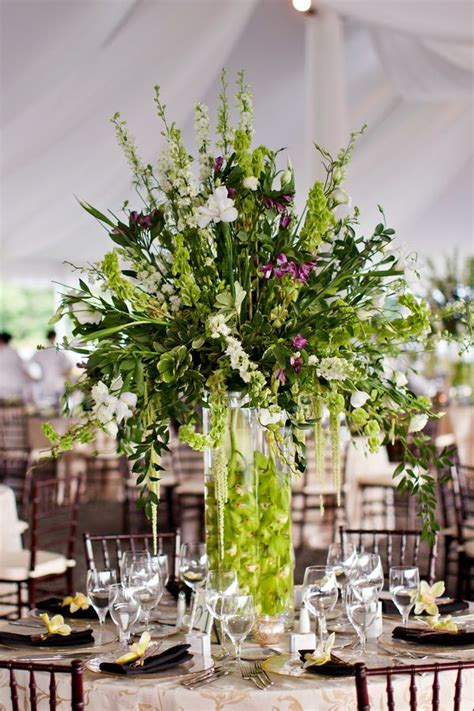 Large Flower Arrangements For Weddings by Large Reception Arrangement Green Purple Orchid
