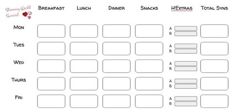printable food diary slimming world printable food diary go to site for download link