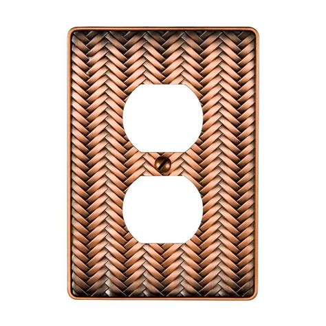amerelle grayson 1 duplex wall plate copper and the home amerelle filigree 1 toggle wall plate antique copper
