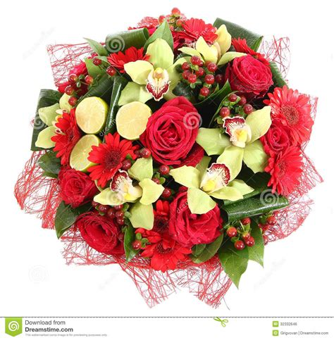 design a flower bouquet floral compositions of red roses red gerberas and orchids