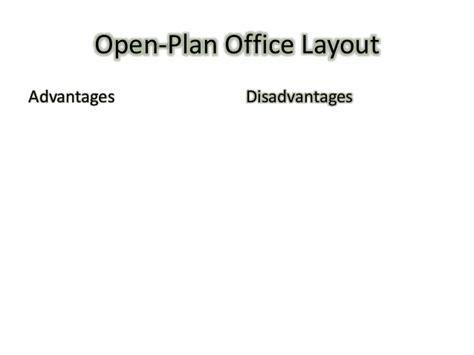 open plan office layout advantages and disadvantages office layouts powerpoint