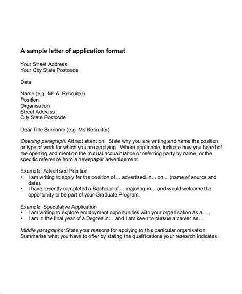 kinds of application letter format 32 application letter sles free premium templates