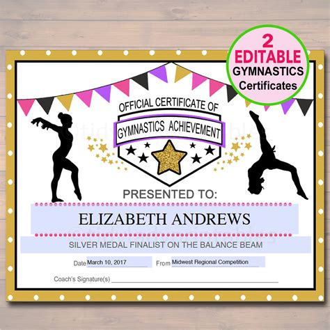 editable gymnastics certificates instant download gymnastics