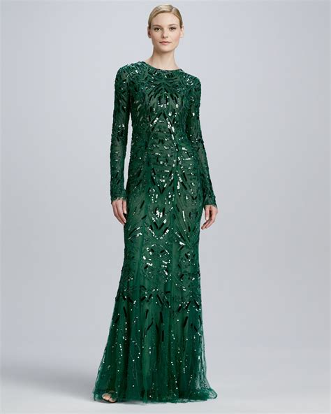 green beaded dress lhuillier beaded embroidered sleeve gown in
