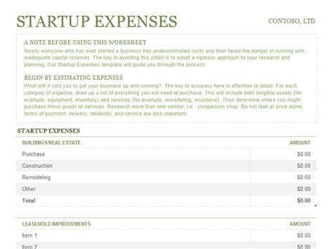 startup expenses template startup expenses office templates