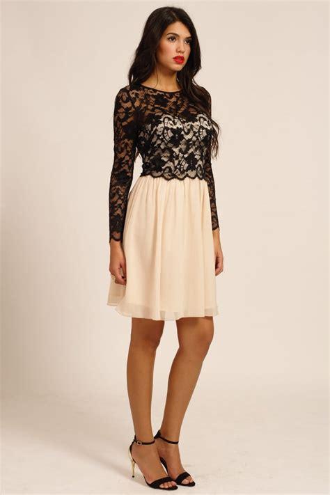 black cream floral lace detail long sleeve dress