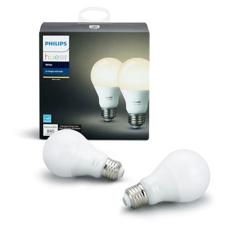 philips hue a19 smart led light bulb philips hue white a19 2 pack 60w equivalent dimmable led