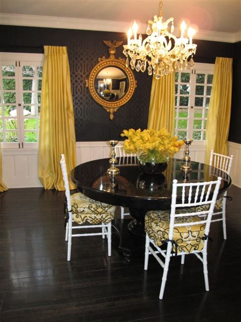 Yellow Dining Room Curtains Ideas 30 Exquisite Black Wall Interiors For A Modern Home Freshome