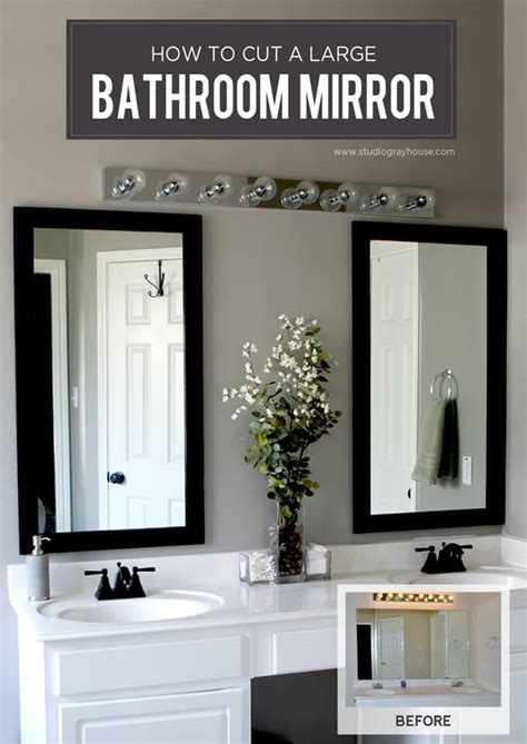 How To Hang A Bathroom Mirror Cut A Bathroom Mirror Tutorial Gray House Studio
