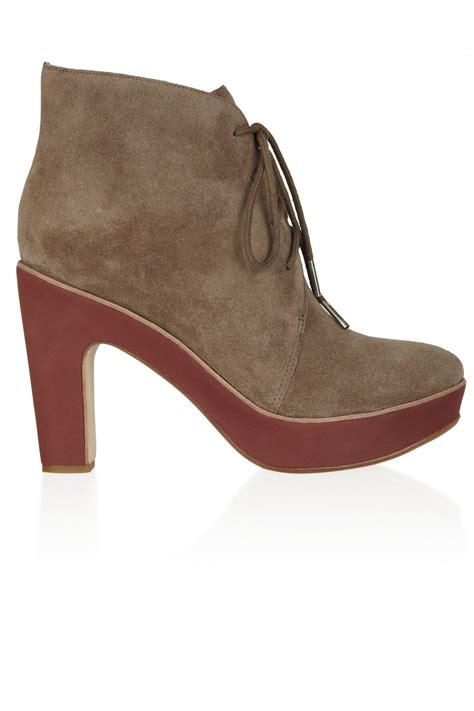 kors by michael kors divina suede ankle boots in brown lyst