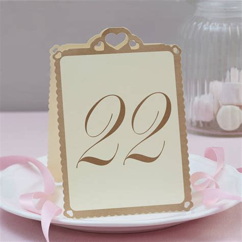 wedding table numbers ivory and gold 13 to 24 by