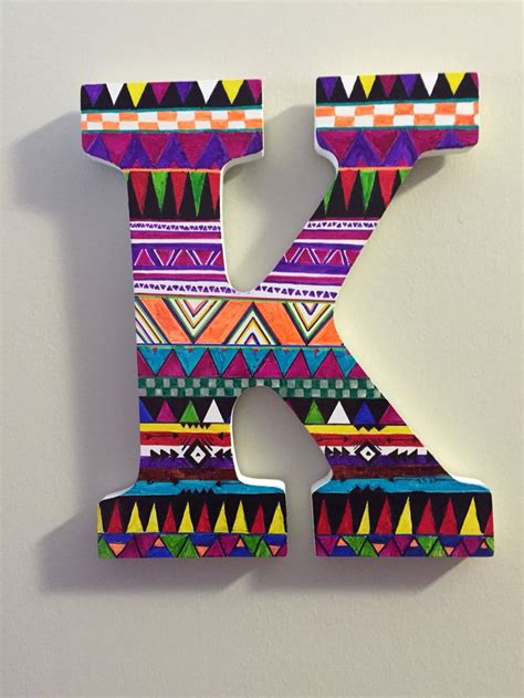 tribal pattern sharpie diy aztec sharpie design wooden letter quot k quot diy stuff