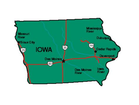 iowa state cus map iowa facts symbols tourist attractions