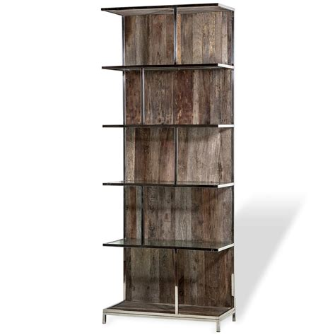 industrial loft recycled elm wood metal bookcase