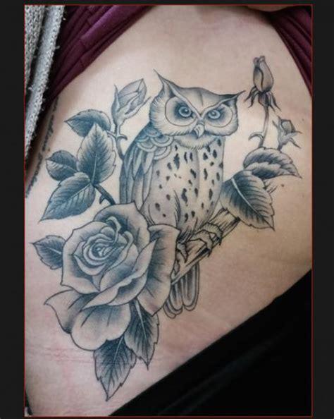 tattoo owl rose owl and roses tattoo by chapel tattoo best tattoo ideas