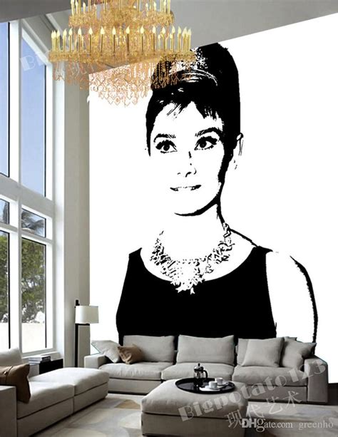 hepburn room decor black and white wall mural pop hepburn photo wallpaper canvas silk large wall