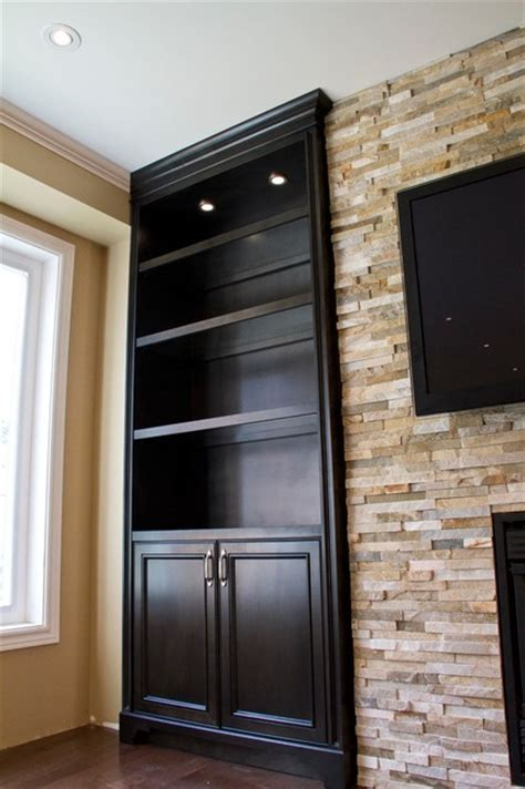 houzz built in bookcases glass shelves built in units around fireplace