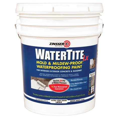 zinsser watertite 5 gal lx low voc mold and mildew proof white water based waterproofing paint