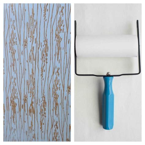 wallpaper paint roller patterned paint roller in woodgrain with applicator by not