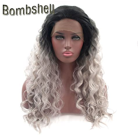 bombshell black ombre silver grey curly synthetic