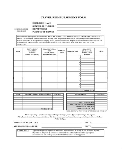 9 Sle Reimbursement Forms Sle Templates Travel Expense Reimbursement Form Template