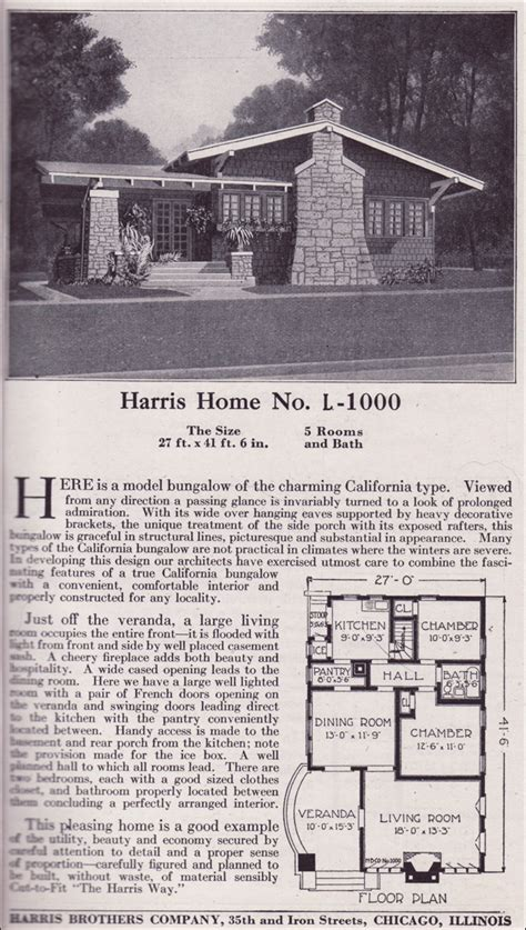 chicago bungalow house plans plan l 1000 1918 harris bros co california type